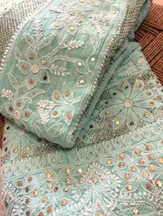 Mukaish Pure Georgette Chikankari Anarkali with pearl work Kurti Designs Party Wear, Kurta Designs, Saree Blouse Designs, Pakistani Dress Design, Pakistani Outfits, Dress Indian Style, Indian Dresses, Chikankari Suits, Phulkari Pants