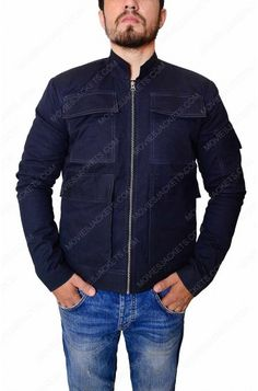 Now We Bring Extra Ordinary Drizzling Stuff On Public Demand It's World Block Buster Movie Series Episode Five Jacket Its Worn By Very Versatile Actor For Playing Role Of it Out Now Han Solo Jacket, Paris Movie, Star Wars Jacket, Star Wars Han Solo, Star Wars Shop, The Empire Strikes Back, Navy Blue Color, Cotton Jacket, Men Looks