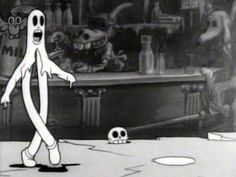 """From the animated clip """"Minnie the Moocher"""" with Betty Boop and music by Cab Calloway and his Orchestra 1930s Cartoons, Vintage Cartoons, Old School Cartoons, Classic Cartoons, Ghost Cartoon, Cartoon Art, Halloween Music, Vintage Halloween, Betty Boop Snow White"""