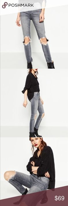 Zara Denim Zara distressed High Waist Jeans Zara Jeans Straight Leg