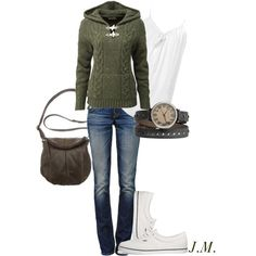 Love that sweater! The watch is really neat, too. I'd even take the bag.  :)  Would do bootcut jeans instead though.