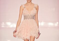 mini love this ostrich pink fluffy floaty glittery little dress with it's deep V neck and teeny tiny short skirt. darling.