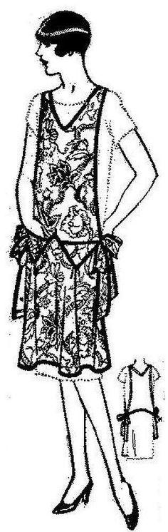 New Pellon Pattern Vintage 1920's One Size Flapper Drop Waist Apron 34-42 Bust
