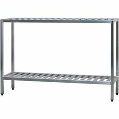 """Aluminum T-Bar 3-Shelf Rack, 20""""Wx60""""Hx72""""L by NEW AGE INDUSTRIAL CORP.. $452.95. Aluminum T-Bar 3-Shelf Rack, 20""""Wx60""""Hx72""""L Shelving Unit, all welded T-bar Style, 3 shelf unit, aluminum construction, weight capacity 1000lbs. Per shelf, NSF. Manufacturers Lifetime Warranty on Construction and Against Rust and Corrosion. 60.25 L. 20.50 W. 60.25 H."""