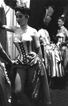 Las Vegas showgirl Dale Strong backstage, 1952.