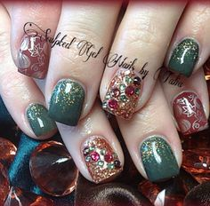 Fall sculpted gel nails with stamps and rhinestones by Talia.