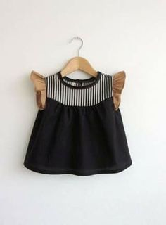 girls' cotton blouse with striped detail by swallowsreturn on Etsy Emphasis on the brown tan sleeves ruffled Fashion Kids, Little Girl Fashion, Fashion Black, Cotton Blouses, Kid Styles, My Baby Girl, Baby Baby, Baby Girls, Kind Mode