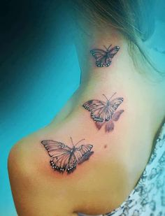 Butterfly on shoulder girly  tattoos - 50 Examples of Girly Tattoo  <3 <3