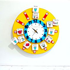 Childrens Routine Clock - Visual Timetable - Kids Routine Chart - Learning Time - Kids Clock - Teachers Schools - Autism - Educational by CraftlyDesign on Etsy https://www.etsy.com/listing/288692485/childrens-routine-clock-visual-timetable
