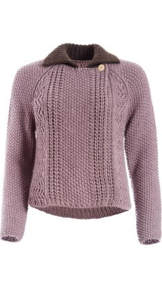 """</p> <p class=""""p1"""">Short double-breasted knit cardigan in moss stitch mauve with raglan sleeves and other knit stitches.</p> <p class=""""p1"""">Brown knitted point collar.</p> <p class=""""p1"""">Single mother-of-pearl button fastening through front.</p> <p class=""""p1"""">One size.</p> <p class=""""p1""""></p> <p class=""""p1"""">100% Merino Wool</p> <p class=""""p2"""" style=""""font-size: 12.1599998474121px; line-height: 15.8079996109009px;"""">"""