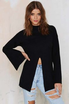 Nasty Gal One-Slit Wonder Ribbed Turtleneck Sweater