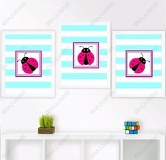 Nursery Baby Ladybug Wall Decor 8x10 Wall Art Print Lot (Set of 3) Pink Seafoam #Unbranded