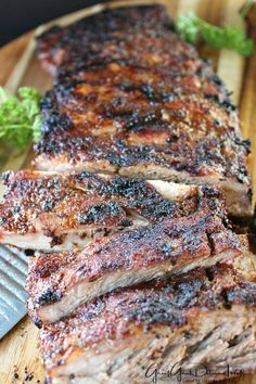 BBQ Dry Rub Pork Ribs are seasoned with a delicious dry rub then grilled low and slow. Pork Rib Recipes, Grilled Steak Recipes, Easy Meat Recipes, Grilled Pork, Grilling Recipes, Cooking Recipes, Grilling Ideas, Smoker Recipes, Crockpot Recipes