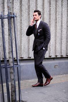 Model David Gandy, LCM After Hardy Aimes, London Street Style.