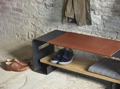 AMMIL - blackened steel bench with leather and oak