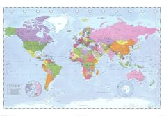World Map (Political, Time Zones) Riesenposter