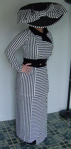 Striped Edwardian Replica Boarding Dress Suit with Stunning Bow Hat