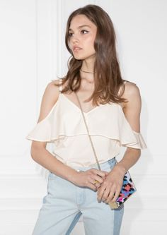 & Other Stories image 1 of Frill Off-Shoulder Top in Off white