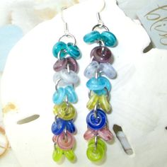 Glass spacers on circles dangle earrings multi by beadwizzard
