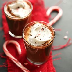 VEGAN Peppermint Drinking Chocolate! Four ingredients only and perfect for the holidays!