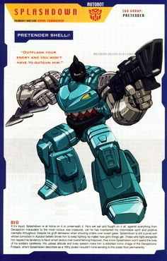 Splashdown (One of my favorites) Transformers Decepticons, Transformers Characters, Transformers Movie, Gi Joe, Gundam, Comic Book Characters, Comic Books, Transformers Generation 1, Cartoon Pics