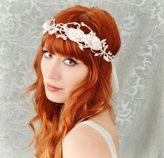 White flower crown, vintage wedding head piece, rose hair wreath - Sofia - hair accessories. $65.00, via Etsy.
