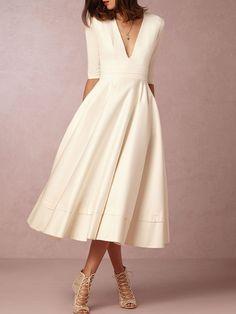 Robe Patineuse Plaine Polyester Midi Poche(s) Passepoilée(s) Robe Patineuse  Mariage c8227abe0
