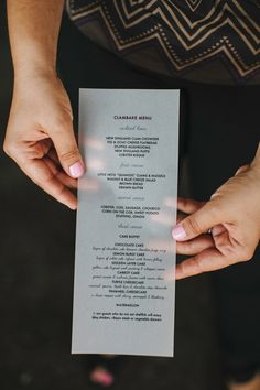 print menus on vellum paper for a translucent appearance // photo by LevKuperman.com