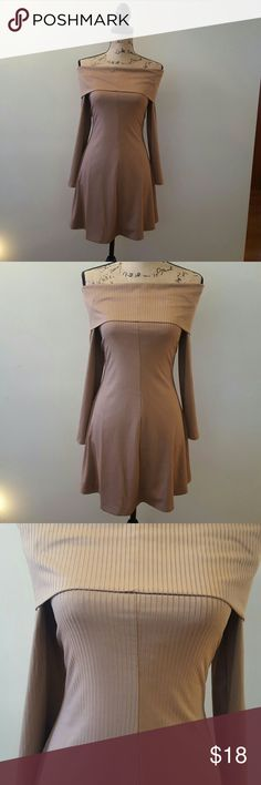 H&M dress NWOT Bronze off-shoulder dress from H&M Never worn.. perfect condition! Great worn with dark tights or leggings. Very flattering! You can adjust how low/high you want the off-shoulder to go...see pics for example! Divided Dresses