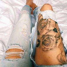Colorful Flower Leg Tattoos For Women
