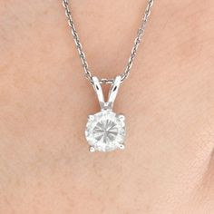 .66ct ESTATE ROUND CUT GENUINE DIAMOND SOLITAIRE PENDANT NECKLACE IN 14k WHITE GOLD    http://cgi.ebay.com/ws/eBayISAPI.dll?ViewItem=121069606664=STRK:MESE:IT