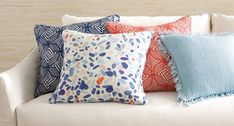 Colorful confetti raindrops shower down in a playful and refreshing dance of blues, corals, and natural on crisp white linen pillow. Double sided print on laundered linen is finished with self piping on all sides. Coastal Colors, Coastal Style, Coastal Living, Linen Pillows, Decorative Pillows, Throw Pillows, Holiday Gift Baskets, Striped Rug, Colorful Decor