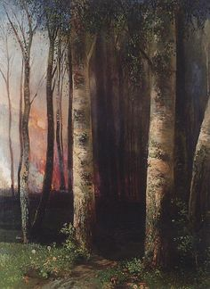 Fire In Woods 1883 Acrylic Print by Savrasov Aleksey. All acrylic prints are professionally printed, packaged, and shipped within 3 - 4 business days and delivered ready-to-hang on your wall. Russian Landscape, Russian Painting, Russian Art, Pine Forest, Art Database, Office Art, Great Artists, Vintage Posters, Vintage Art