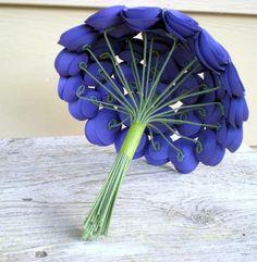 Items similar to Violet Bridal Bouquet -- Large Handmade Paper Flower Bouquet -- Purple Bouquet on Etsy Paper Flowers Wedding, Fabric Flowers, Wedding Bouquets, Ribbon Bows, Ribbons, Hand Bouquet, Quilling 3d, Paper Flower Tutorial, Card Tutorials