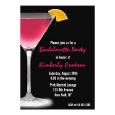 Hot Pink Martini Bachelorette Party Card