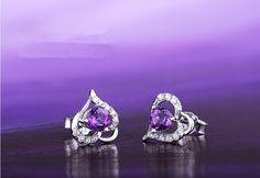 Gorgeous 925 Sterling Silver Ear Studs, Micro Pave Zirconia Heart with Violet AAA Zircon, Silver   on We Heart It