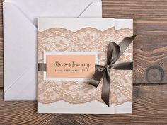 Grey and Peach Lace Wedding Invitation, Pocket Fold Wedding Invitations , Vintage Wedding invitation on Etsy, $5.40