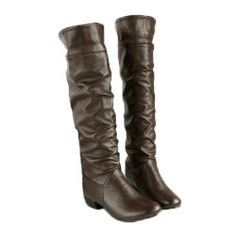 $15.69 British Style Women's Knee-High Boots With Solid Color and Ruffle Design
