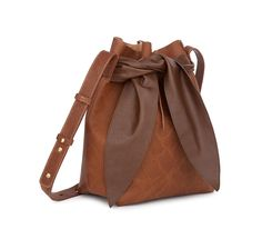 CAJUN - Bucket bag - Brown snake Cow Leather, Vegan Leather, Leather Bag, Scarf Belt, Bucket Bag, Snake, Shoulder Strap, Woman, Clothes For Women