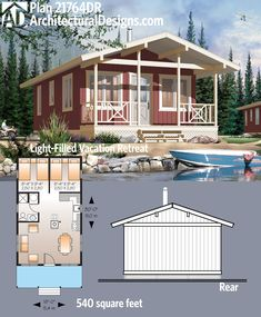 Get over 500 square feet of living with Architectural Designs Tiny House Plan 21764DR. One bed, one bath and an open living space. Ready when you are. Where do YOU want to build?