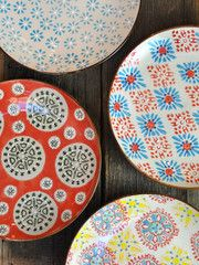 Bohemian plates (from Belgium, at P.O.S.H Chicago) ~ that watercolored page; a beautiful patterned canvas I longed to see again...