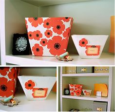 Storage bins made from cereal boxes and fabric!