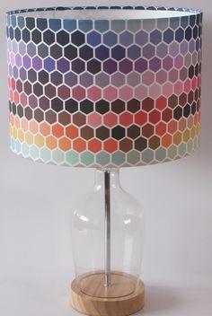Rainbow RGB hexagon lampshade pendant (ceiling) or table lamp EU UK USA Table Lamp, Bulb, Colours, Novelty Lamp, Bright Lampshade, Ceiling, Prints, Digital Print Fabric, Hexagon