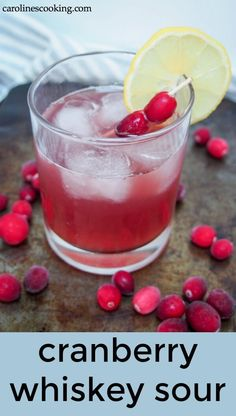This Cranberry Whiskey Sour is a simple and delicious variation of a classic cocktail . This Cranberry Whiskey Sour is a simple and delicious variation of a classic cocktail . Cranberry Cocktail, Whisky Cocktail, Cocktail Drinks, Whiskey Sour, Whiskey Mixed Drinks, Easy Mixed Drinks, Easy Cocktails, Easy Drink Recipes, Kitchens