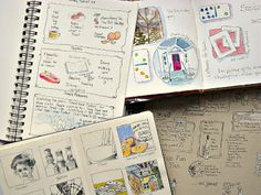 little two-inch sketches following themes -- fast, easy, gets you in the habit. Don't have to do a full page *all* the time  :-)  ~ from Catherine Carey  #journal