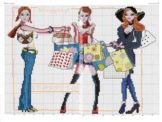 0 point de croix filles shopping - cross stitch