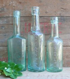 Aqua Vintage Glass Bottles....