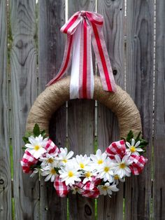 Daisy Gingham Summer Wreath by TheEducatedOwl on Etsy, $40.00
