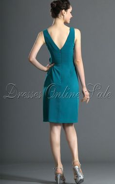 Blue A-line Knee-length V-neck Dress Shop Online - 4p2 - sku107120625a41