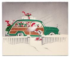 """Vintage Christmas card with Santa making deliveries in a classic """"woody"""" station wagon."""